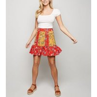 Brave Soul Red Mixed Floral Mini Skirt New Look
