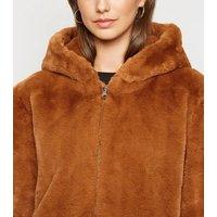 Pink Vanilla Rust Faux Fur Hooded Jacket New Look