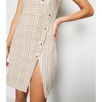 Pink Vanilla Off White Check Button Up Dress New Look