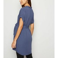 Maternity Blue Belted Overhead Tunic Dress New Look