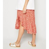 Maternity Red Floral Button Up Side Split Midi Skirt New Look