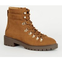Tan Suedette Lace Up Ankle Boots New Look Vegan