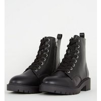 Black Leather-Look Chunky Lace Up Boots New Look