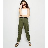 Girls Khaki Belted Ripped Utility Trousers New Look
