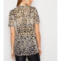Carpe Diem Brown Mesh Leopard Print T-Shirt New Look