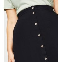 Curves Black Button Up Midaxi Skirt New Look
