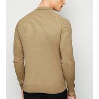 Cream Ribbed Muscle Fit Polo Shirt New Look