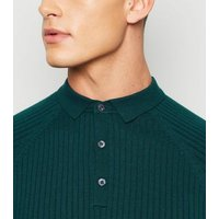 Teal Ribbed Muscle Fit Polo Shirt New Look