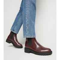 Wide Fit Dark Red Patent Chelsea Boots New Look Vegan