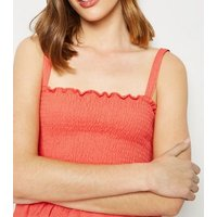 Coral Shirred Frill Peplum Cami New Look