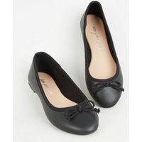 Black Leather-Look Bow Front Ballet Pumps New Look Vegan