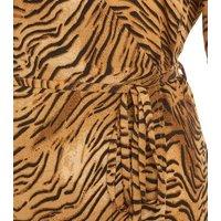 Brown Tiger Print Wrap Midi Dress New Look