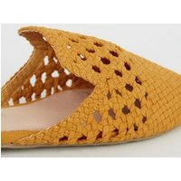 Mustard Suedette Woven Pointed Mules New Look Vegan