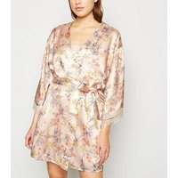 Pink Floral Satin Lace Trim Robe New Look