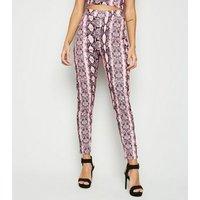 Cameo Rose Pink Snake Print Leggings New Look
