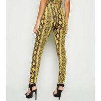 Cameo Rose Yellow Snake Print Leggings New Look