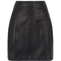 Black Coated Leather-Look Mini Skirt New Look