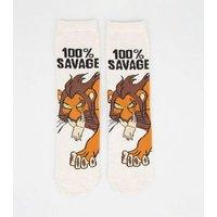 Cream Disney Lion King Scar Slogan Socks New Look