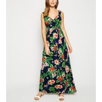 Mela Navy Tropical Floral Maxi Dress New Look