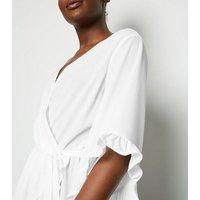 AX Paris Cream V Neck Frill Wrap Top New Look