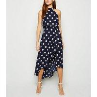 AX Paris Blue Polka Dot Dip Hem Midi Dress New Look