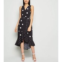 AX Paris Black Mixed Spot Midi Wrap Dress New Look