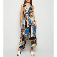 AX Paris Blue Scarf Print Midi Dress New Look