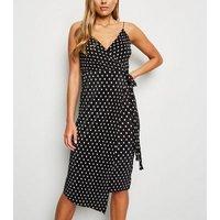 Black Spot Print Plisse Midi Wrap Dress New Look
