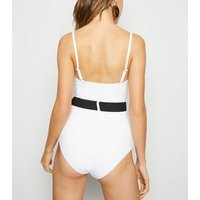 White Contrast Belted Swimsuit New Look