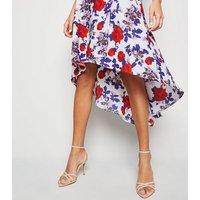 Mela White Floral Dip Hem Midi Dress New Look