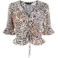 White Leopard Print Ruched Front Top New Look
