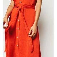 Red Herringbone Button Up Midi Dress New Look