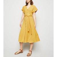 Yellow Herringbone Button Up Midi Dress New Look