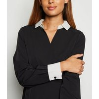 Mela Black Contrast Collar Dress New Look