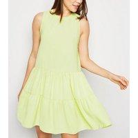 Light Green Herringbone Sleeveless Smock Dress New Look