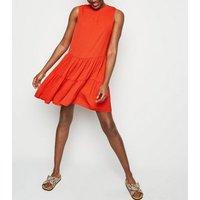Red Herringbone Sleeveless Smock Dress New Look