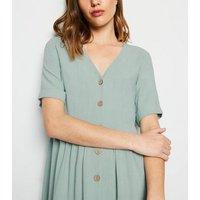 Mint Green Linen Look Button Up Smock Dress New Look