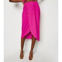 Bright Pink Wrap Midi Skirt New Look