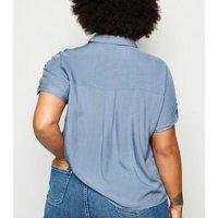 Curves Blue Double Pocket Short Sleeve Shirt New Look