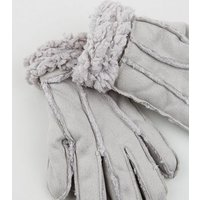 Grey Suedette Faux Shearling Gloves New Look