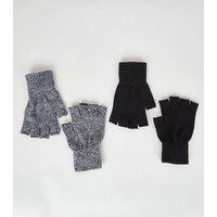 2 Pack Black Marl Fingerless Gloves New Look