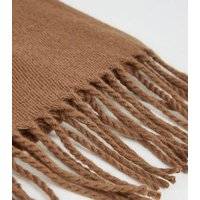 Camel Woven Scarf New Look