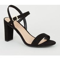 Extra Wide Fit Black Suedette Block Heel Sandals New Look Vegan