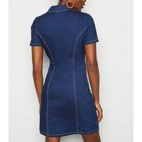 Tall Blue Button Up Denim Bodycon Dress New Look