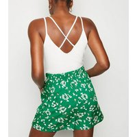 Tall Green Floral Shorts New Look