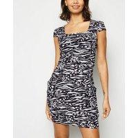 Blue Vanilla Black Zebra Print Tulip Dress New Look