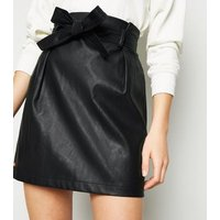 Black Leather-Look Paperbag Mini Skirt New Look
