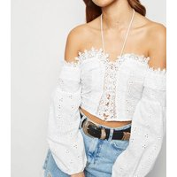 Parisian White Broderie Lace Up Crop Top New Look