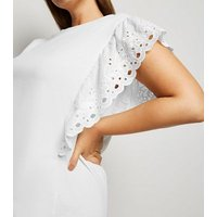 Curves White Jersey Broderie Sleeve T-Shirt New Look