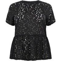 Curves Black Lace Peplum T-Shirt New Look